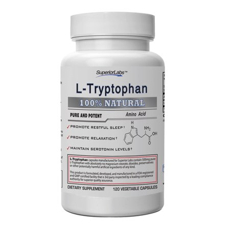 #1 Quality L-Tryptophan by Superior Labs - 500mg, 120 Vegetable Caps - Made In USA, 100% Money Back Guarantee (Copper Caps Twin Labs)