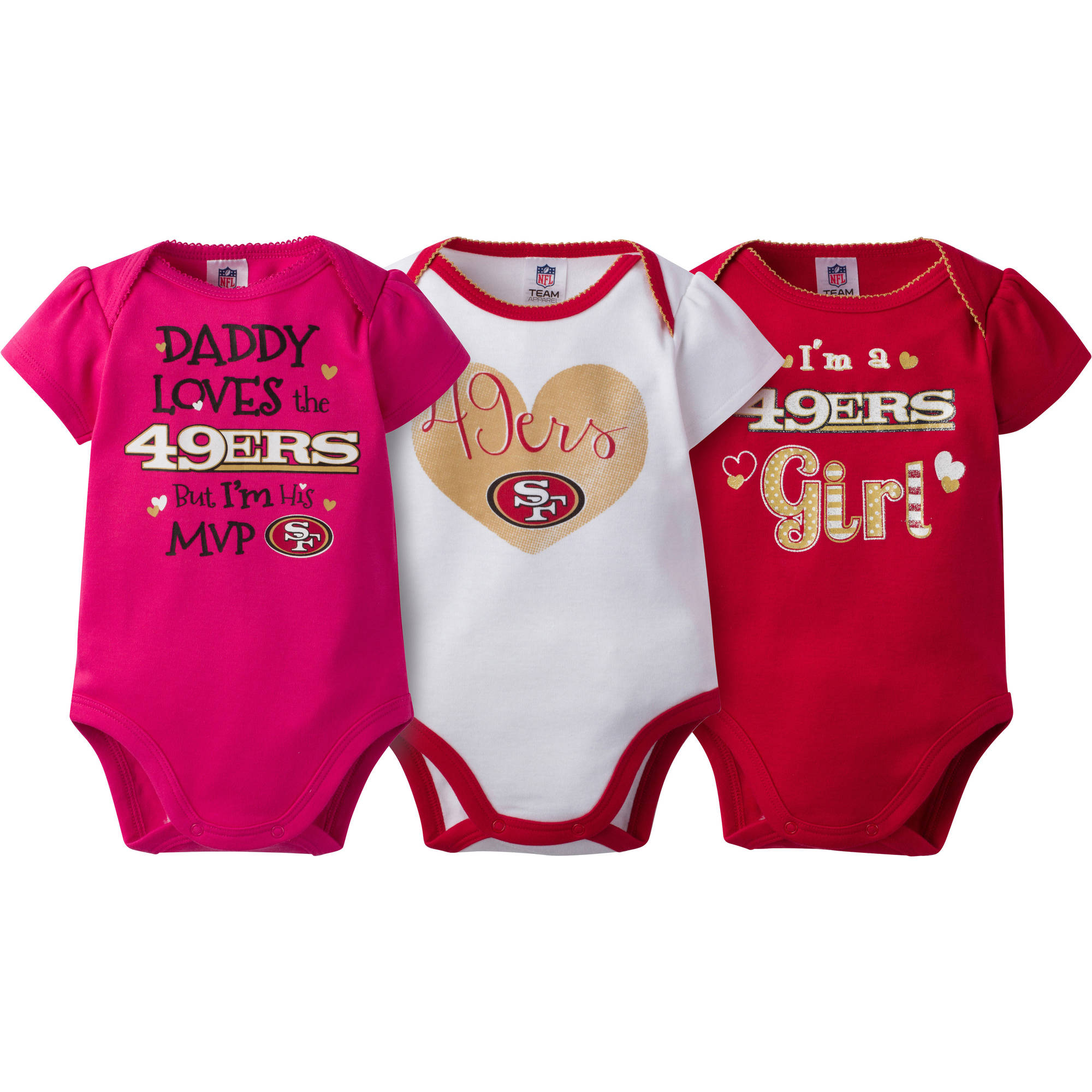 NFL San Francisco 49ers Baby Girls Short Sleeve Bodysuit Set, 3-Pack