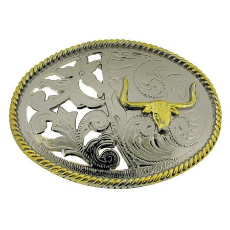 Bull Longhorn Buffalo Ox Gold Silver Two Tone Costume Belt Buckle Western Rodeo