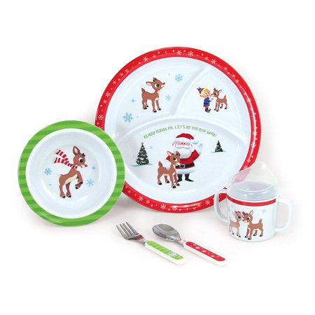 5 Piece Rudolph Melamine Dish Set Includes Plate Bowl Cup Fork And Spoon