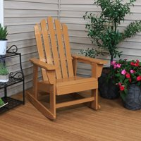 Sunnydaze Classic Wooden Adirondack Rocking Chair with Cedar Finish, 250-pound Capacity