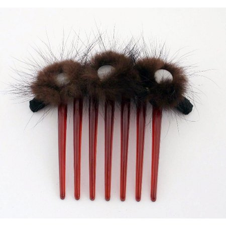 CARAVAN® FRENCH TWIST COMB WRAPPED AND DECORATED WITH THREE (3) FURRY BUSHES AND THREE (3) TIGER-EYES (Tiger Eye Twist)