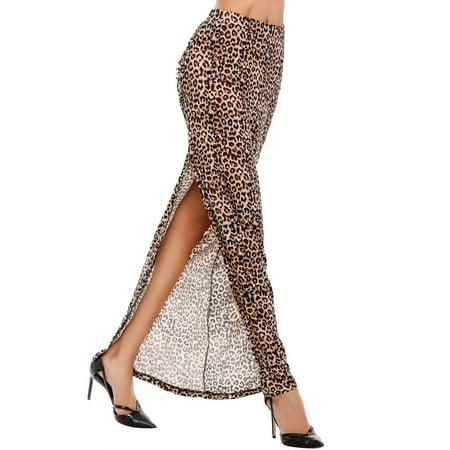 Women Elastic Waist Ruched Split Side Leopard Print Bodycon Long Skirt HFON