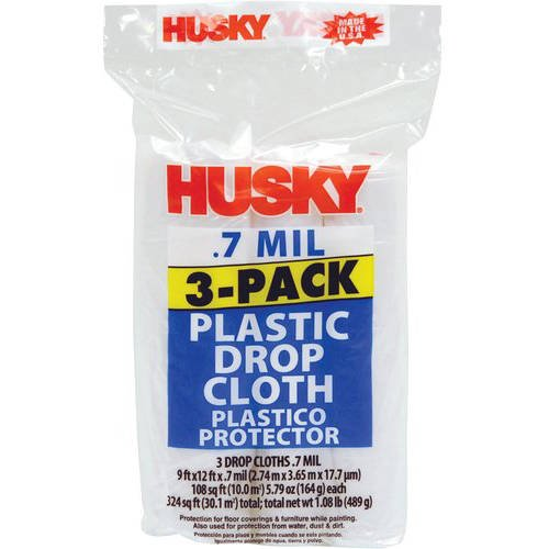 Husky Plastic Drop Cloth, 0.7 Mil, 3-Pack Only $3.88!