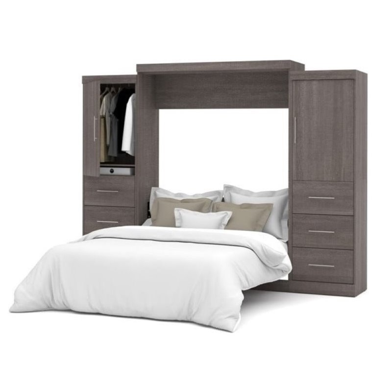 "Bowery Hill 115"" Queen Wall Bed Kit with 6 Drawer Set in Bark Gray"