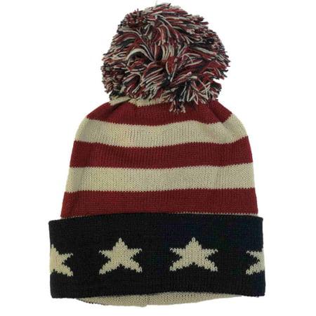 David & Young Mens Patriotic  American Flag Pom Beanie Stocking Cap Hat (Men Stocking Cap)