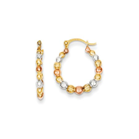 14k Yellow Gold Textured Polished Hinged post and White And Rose Rhodium Beaded Hoop Earrings