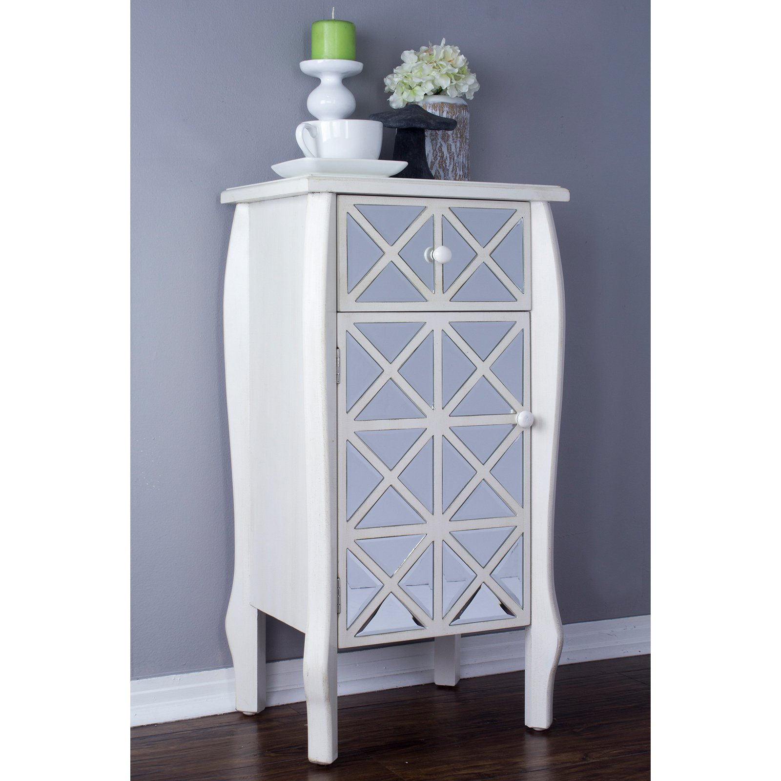 Heather Ann Creations Lana Collection 1 Drawer 1 Door Accent Cabinet End Table