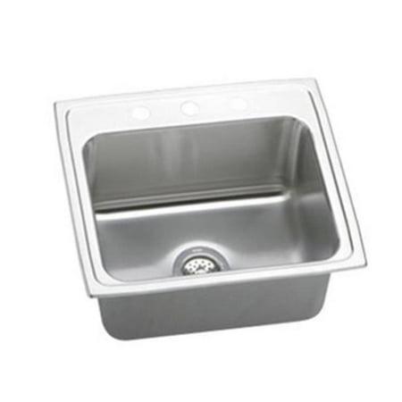 18 Gauge Stainless Steel 22 x 19.5 x 10.125 in. Single Bowl Top Mount Kitchen Sink