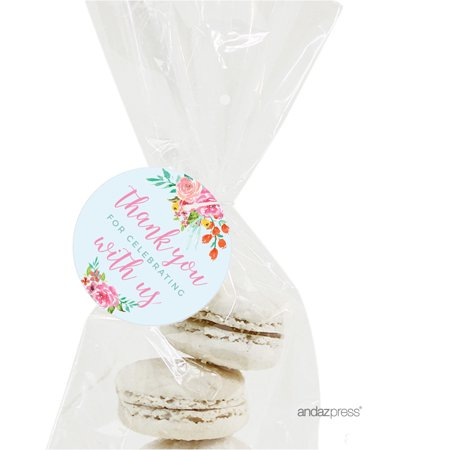 Wedding Pink Roses English Tea Party, 24-Pack Thank You for Celebrating Round Circle Gift Tags