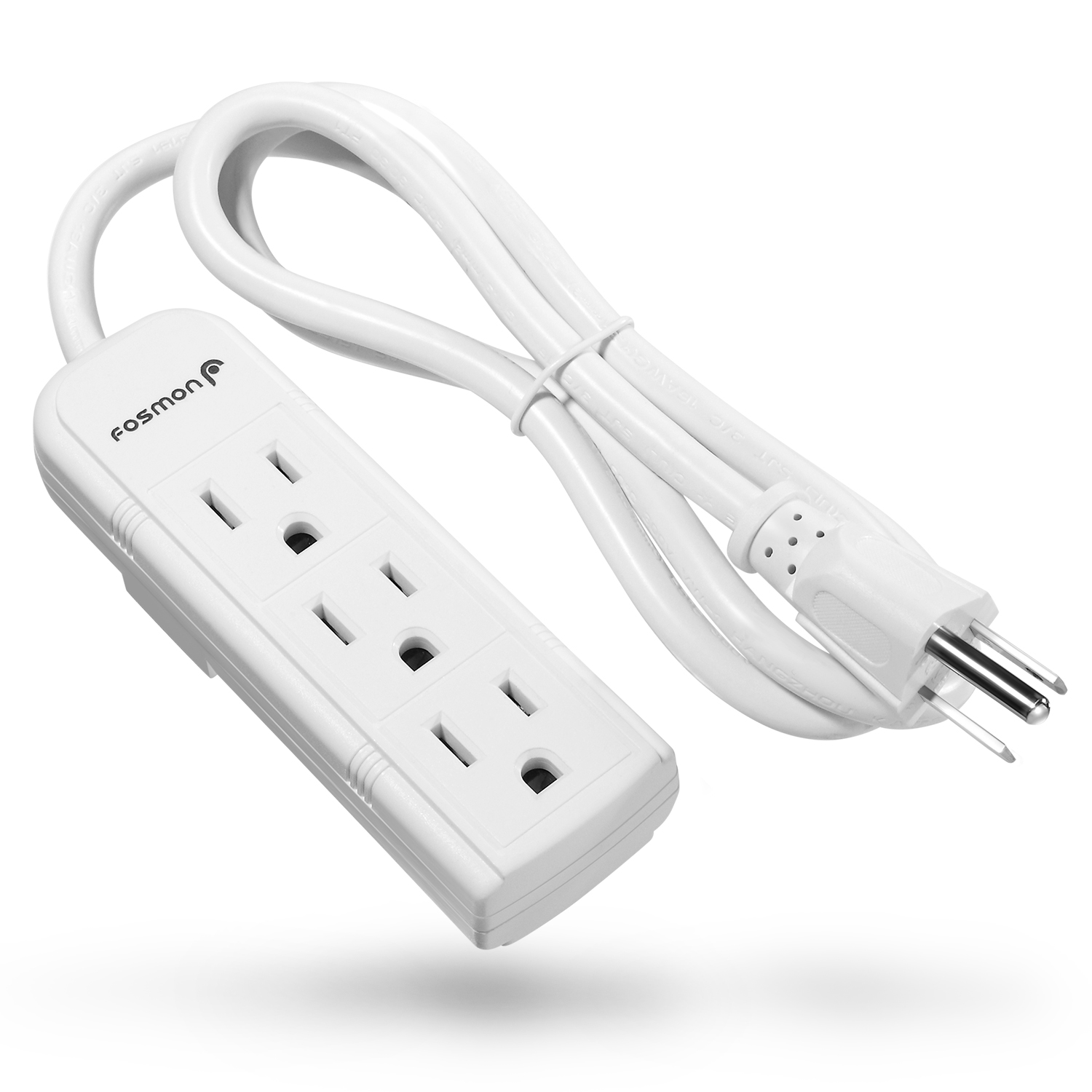 Fosmon 3 Outlet Power Strip Heavy Duty with 3FT Extension Cord, 3 Prong Grounded AC Plug, UL Listed (White)