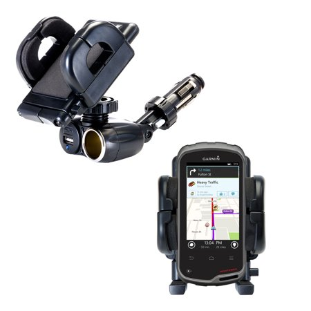 Dual USB / 12V Charger Car Cigarette Lighter Mount and Holder for the Garmin Monterra ()