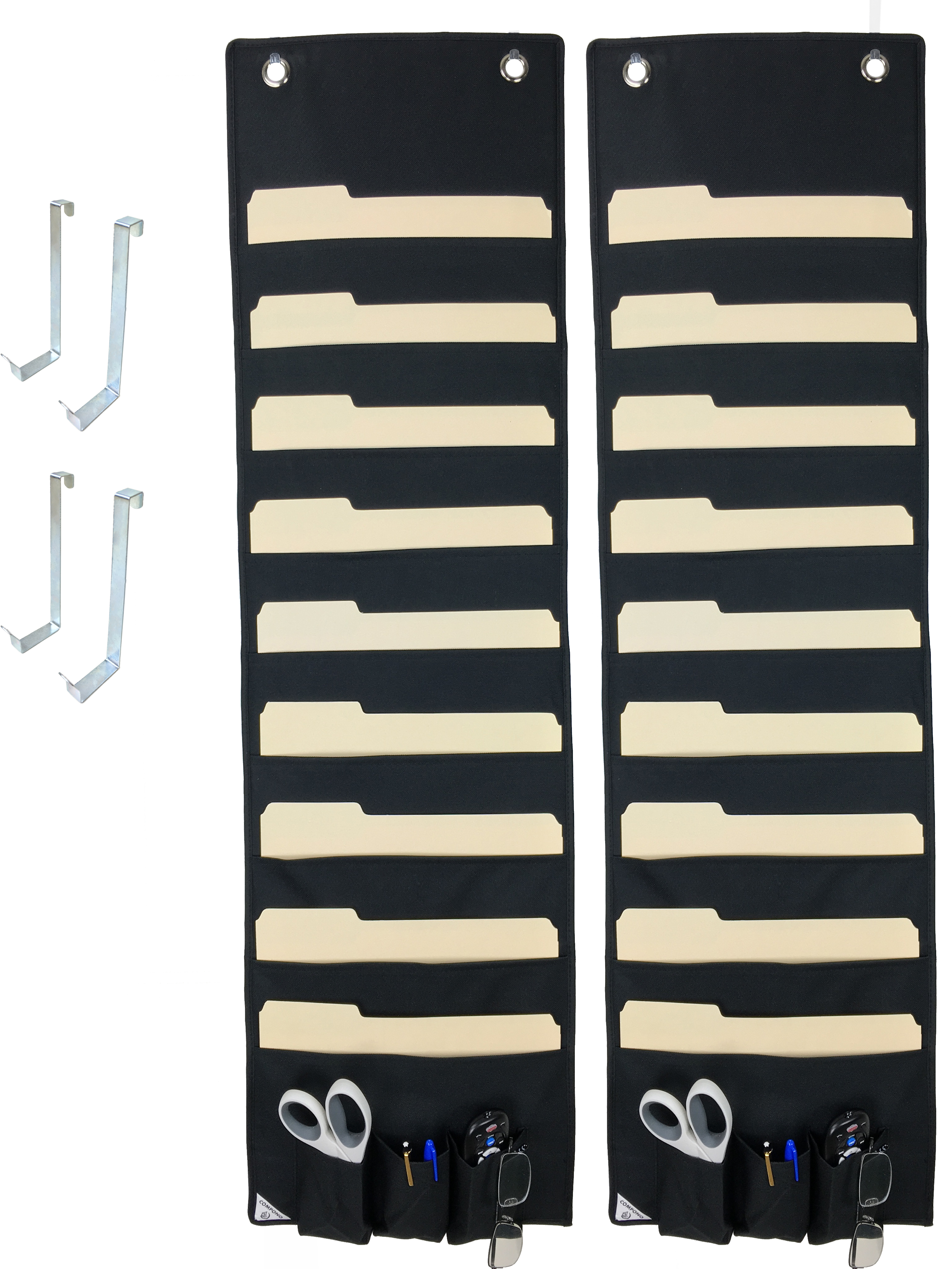 2 PACK COMPONO Premium Hanging File Folder Organizers with 9 Large Pockets, 3 Small Pockets, & 2 Hangers each.... by COMPONO