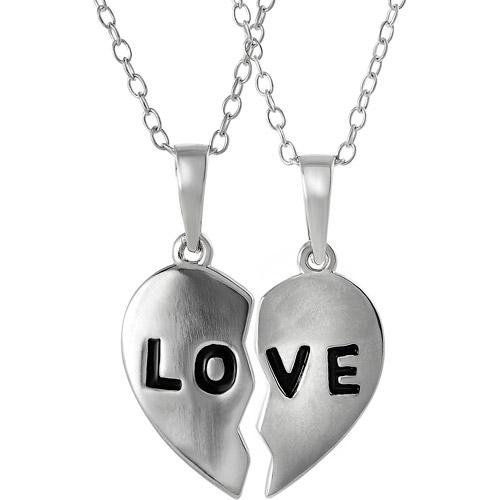 "Brinley Co. Sterling Silver 2-Piece Love"" Pendant, 17"""""