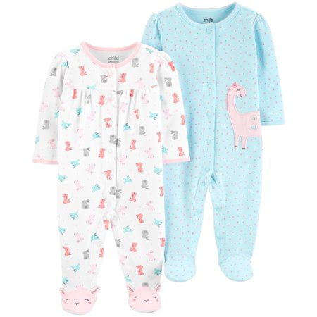 Child of Mine by Carter's Button-up Sleep N Play Pajamas, 2pk (Baby Girls)](Girls Button Up Pajamas)
