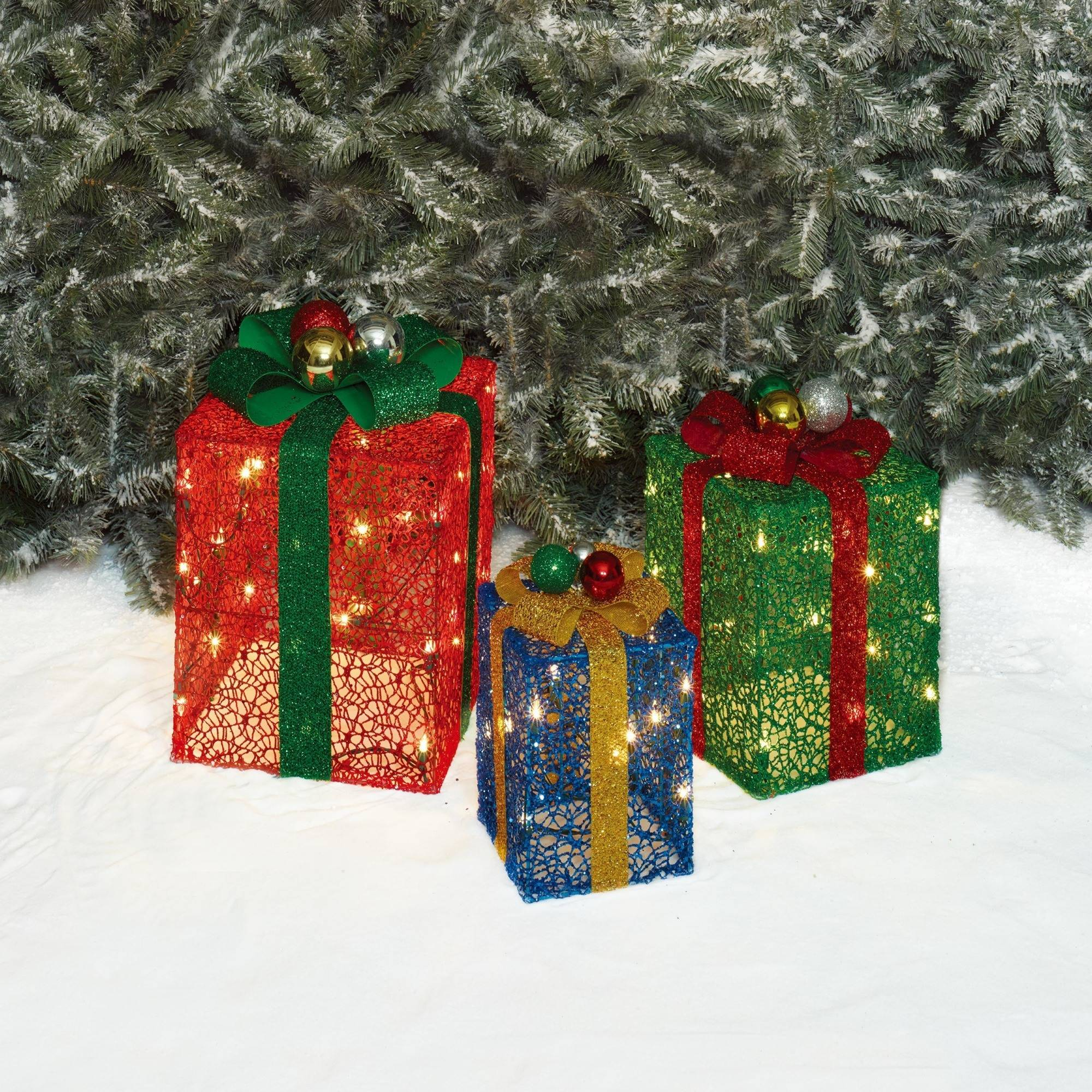 holiday time christmas decor set of 3 glittering mesh gift box sculpture walmartcom - Outdoor Christmas Decorations Gift Boxes