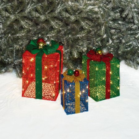 Holiday Time Christmas Decor Set Of 3 Glittering Mesh Gift