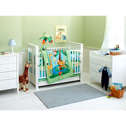 Fisher-Price - Rainforest Jumping Tiger 4-Piece Crib Bedding Set