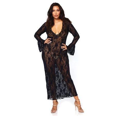 Leg Avenue Womens Stretch Lace Deep V Bell Sleeve Long Dress Black