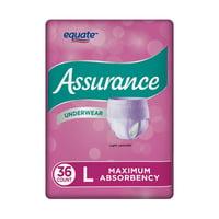 Assurance Incontinence Underwear, Fresh Lavendar, L, 36 Ct
