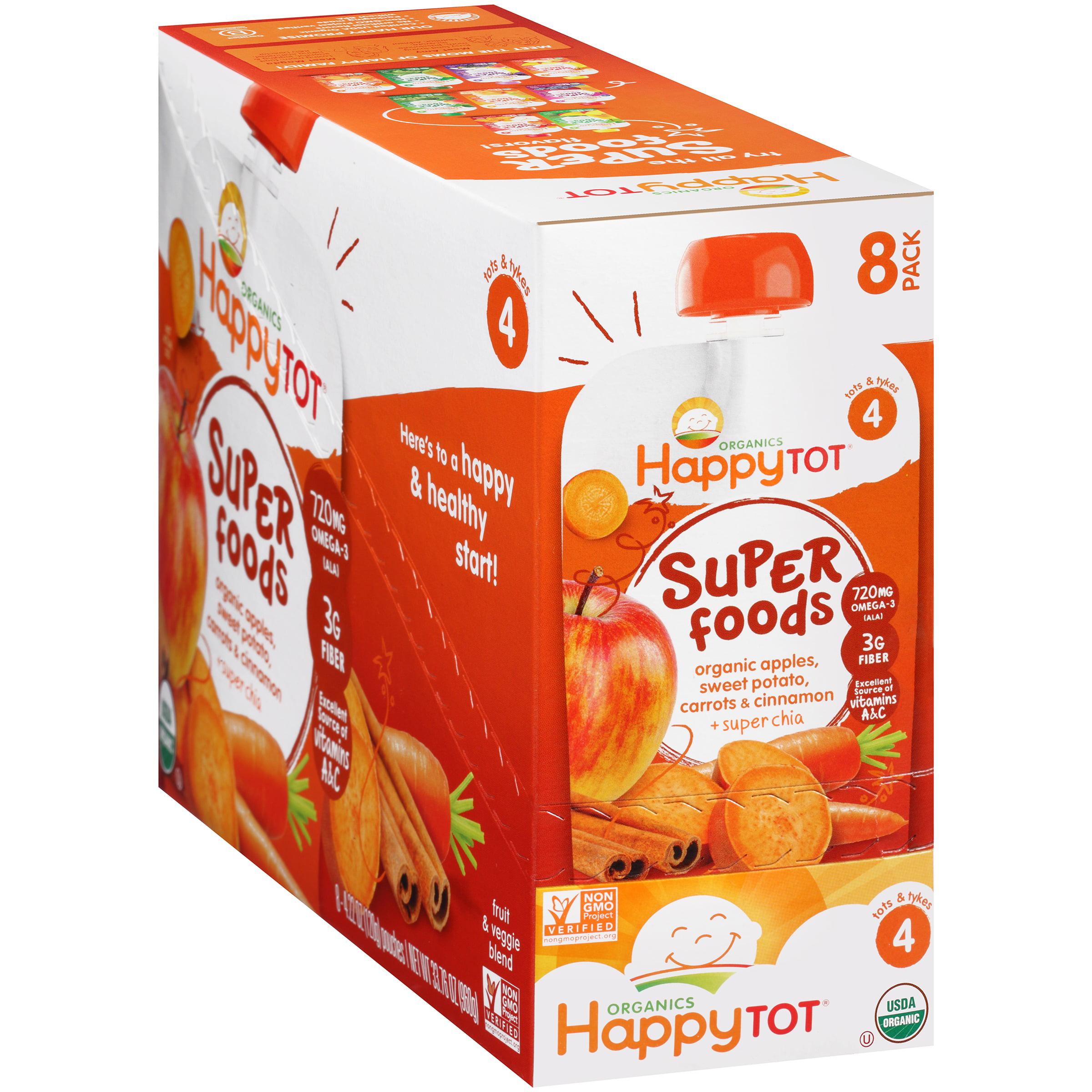 Happy Tot Organics Super Foods Apples, Sweet Potato, Carrots & Cinnamon + Super Chia