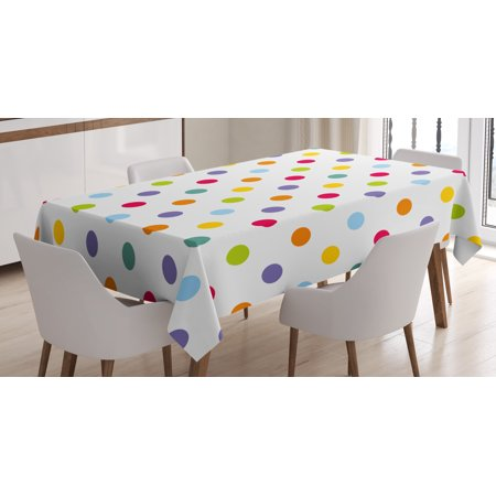 Kids Tablecloth, Vintage Polka Dots in Pastel Colors on Blank Background Cheerful Desing Illustration, Rectangular Table Cover for Dining Room Kitchen, 52 X 70 Inches, Multicolor, by