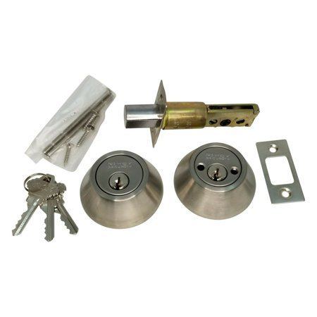 New Double Sided DeadBolt Lock Entry Door Keyed Cylinder 3 Keys Stainless (Deadbolt Lock With Key On Both Sides)