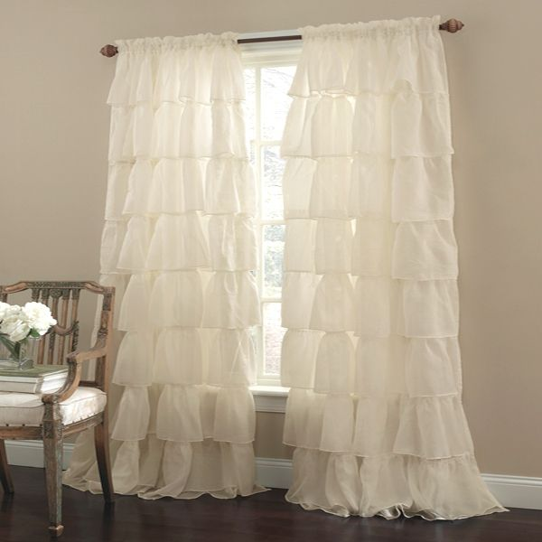 "Lorraine Home Gypsy Sheer Ruffled Rod Pocket Curtain Panel 84"" Curtain Panel"