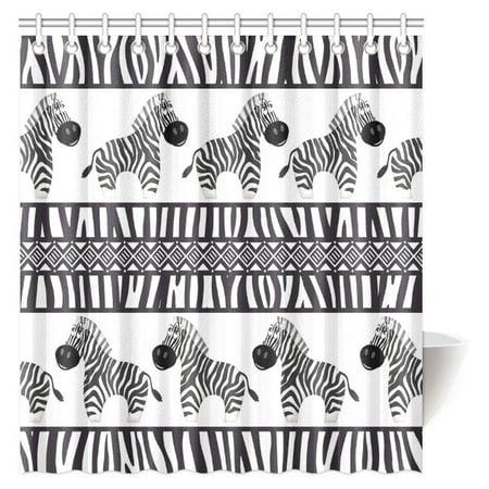 MYPOP Zebra Print Decor Shower Curtain, Cute African Animal Zebra and Zebra Skin Fashionable Trendy Decorating Bathroom Set with Hooks, 66 X 72 Inches ()