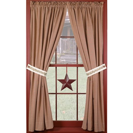 Primitive Berry Vine Wine Check Country Unlined Curtain Panels, 63