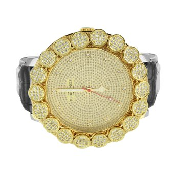 Flower Bezel Khronos Diamond Watch Gold Finsh Leather Band Designer Mens New