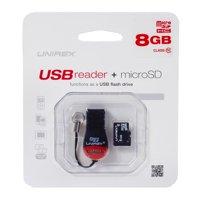 Unirex 8GB Class 10 USB Reader + MicroSDHC