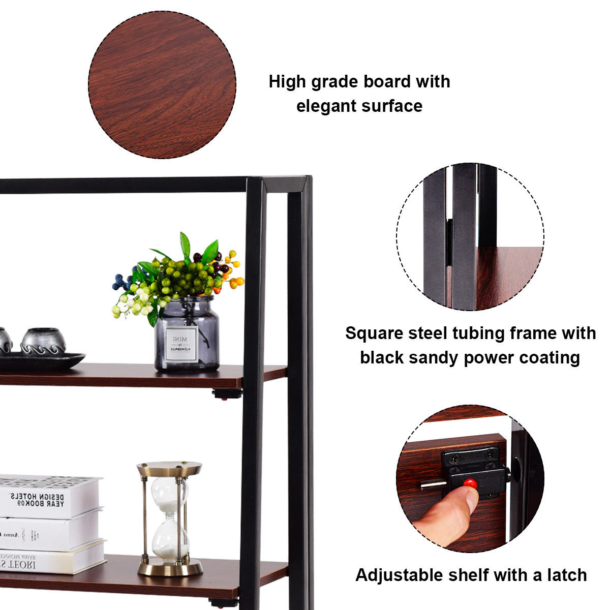 Gymax 3 Tier Folding Ladder Bookcase Multifunctional Plant Flower Display Stand Shelf - image 4 of 10
