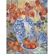 "RTO Counted Cross Stitch Kit 9.75""X12.75""-Orange Physalis (14 Count)"