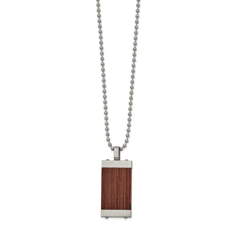 22in Diamond Pattern (Mia Diamonds Solid Stainless Steel Brushed with Wood Inlay 22in Necklace)