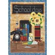 "School Days Back to School Fall House Flag Sunflower Apple Books Desk 28"" x 40"""