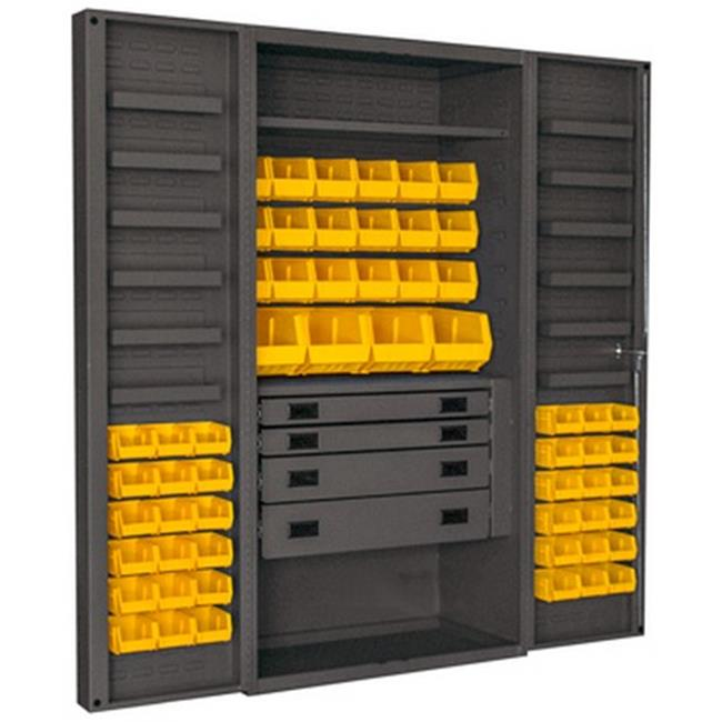 14 Gauge 12 Door Shelves Lockable Cabinet with 58 Yellow Hook on Bins & 1 Adjustable Shelf & 4 Drawers, Gray - 36 x 24 x 72 in.