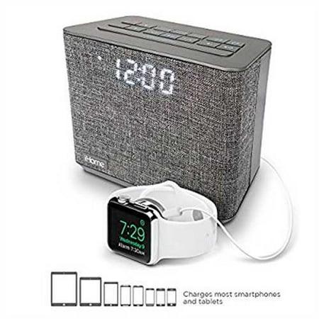 ba9482bd234 Refurbished iHome iBT232 Bluetooth Dual Alarm FM Clock Radio with  Speakerphone and USB Charging -Gray (Newest Model) - Walmart.com