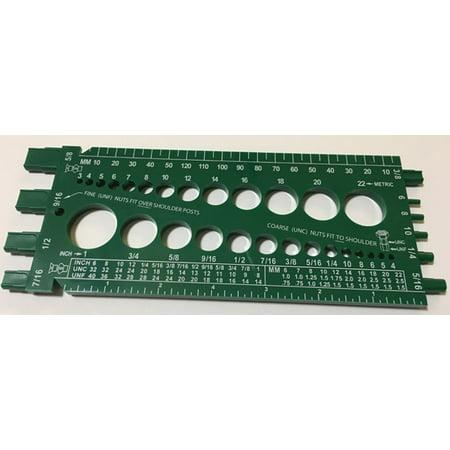 Clipsandfasteners Inc Standard & Metric Bolt & Nut Gauge Green Plastic