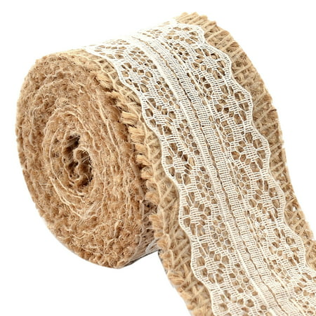 Wedding Decor Essential Burlap Belt Strap Crafting Lace Ribbon Roll White 2.2 Yards - Lace Ribbon Bulk