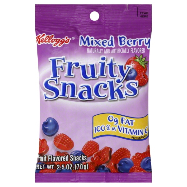 Kellogg's Mixed Berry Fruity Snacks, 2.5 oz Pouches