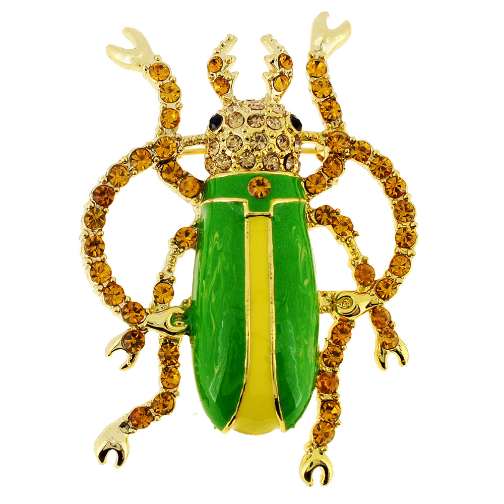 Green Longhorned Beetle Bug Pin Brooch by