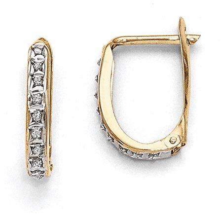 14k White Gold Hinged Hoop Earrings - Lex & Lu 14k Yellow Gold Diamond Fascination Leverback Hinged Hoop Earrings