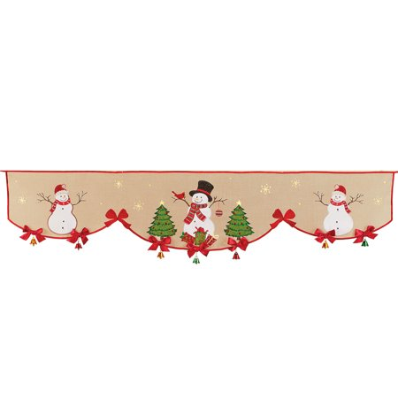 Decorative Snowmen Embroidered Mantel Scarf Christmas Accent with Red Bows and Bells Trim - Mantel Christmas Decorating Ideas