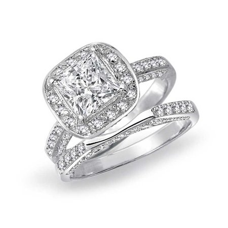 2CT Square Brilliant Princess Cut Halo AAA CZ Pave Band Engagement Wedding Ring Set For Women 925 Sterling Silver - Pave Wedding Ring