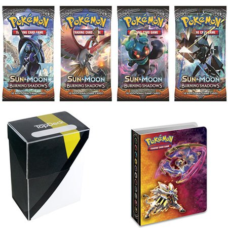 Pokemon Sun And Moon Burning Shadows Booster Pack With 1 Ultra Ball Colorway Deck Box   Chest Solgaleo Lunala Gx Mini Binder