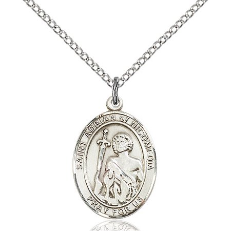 Sterling Silver St. Adrian of Nicomedia Pendant 3/4 x 1/2 inches with Sterling Silver Lite Curb (Adriana Pendant)