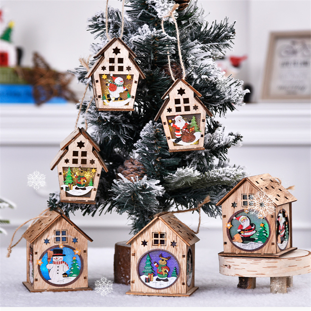 Christmas Tree Wooden Hanging Pendant Elk Santa Snowman Decoration Ornament H9A5