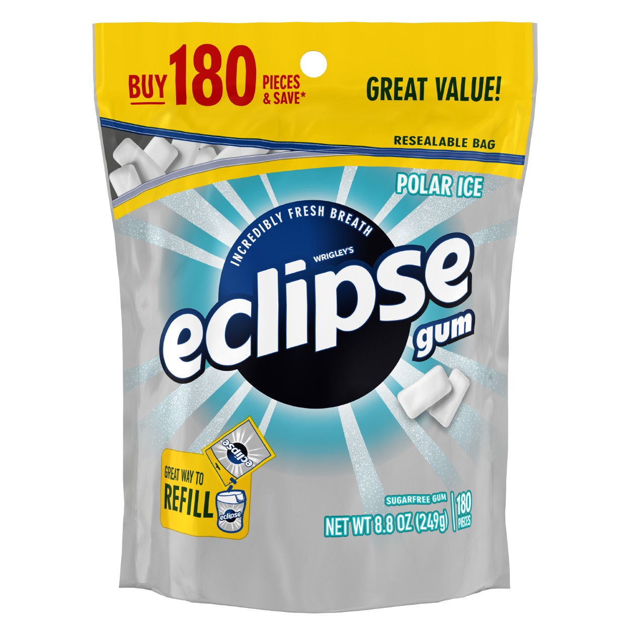 Eclipse, Sugar Free Polar Ice Chewing Gum, 180 Pcs