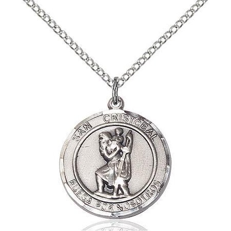 Silver Medal (San Cristobal Medal Pendant in Sterling Silver with 18